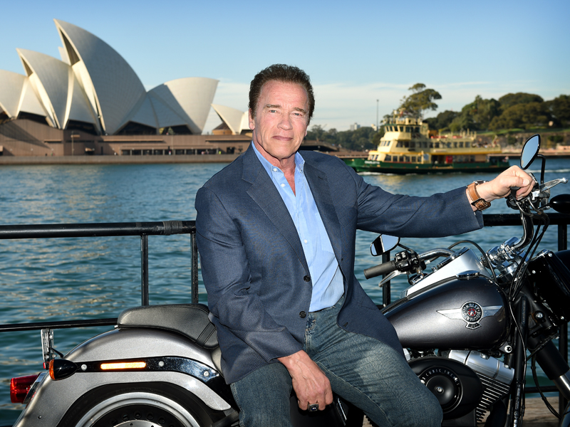 Arnold Schwarzenegger poses for a photograph during a photocall in Sydney, Thursday, June 4, 2015. Schwarzenegger is in Australia to promote the latest Terminator Genisys film, which will open in cinemas on July 1. (AAP Image/Dan Himbrechts) NO ARCHIVING